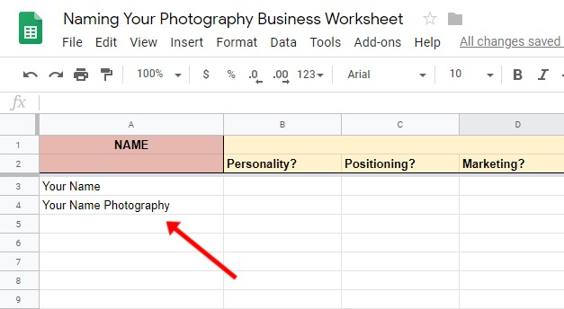Adding The Options To The Photography Business Names Worksheet