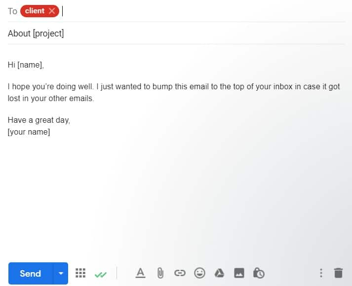 Bump Follow Up Email Example